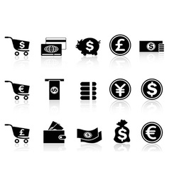 black Currency icons set vector image