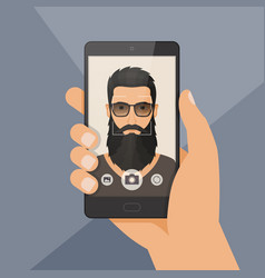 hipster bearded man lumberjack takes selfie using vector image vector image