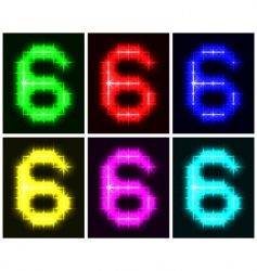 number 6 symbols vector image vector image