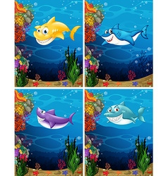 Sharks swimming under the sea vector image vector image