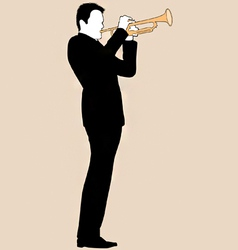 trumpet player silhouette vector image vector image