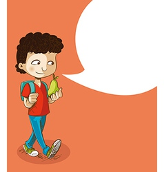 Back to school education boy with social bubble vector image vector image