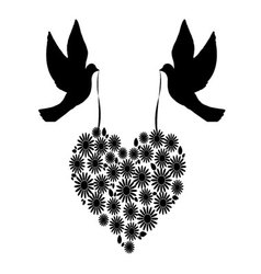 birds with a heart of flowers 6 vector image vector image