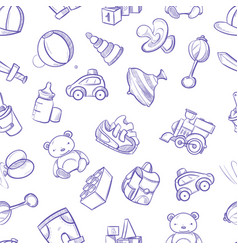 children doodle background with toys cute vector image
