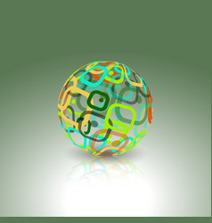 conceptual technology logo abstract globe made vector image