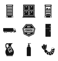 deli icons set simple style vector image