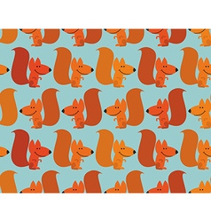 Funny squirrel background Cute redhead small vector image