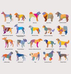 Set of colorful mosaic dogs silhouettes-3 vector