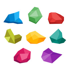 Set of untreated precious gems collection of vector