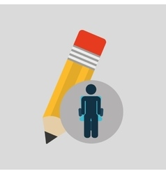 silhouette sitting business pencil creative icon vector image