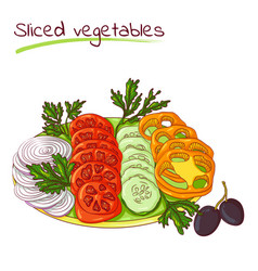 sliced vegetables on a plate vector image