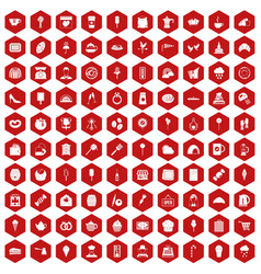 100 patisserie icons hexagon red vector
