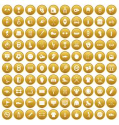 100 sport equipment icons set gold vector