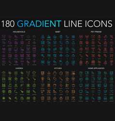 180 trendy gradient style thin line icons set of vector