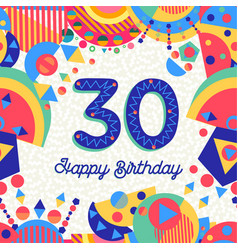 30 thirty year birthday party greeting card vector image