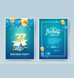 37 th years birthday invitation double card vector image