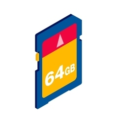 64 GB SD memory card icon isometric 3d style vector image