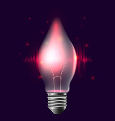 a realistic bulb with pulse and sparkles garlan vector image
