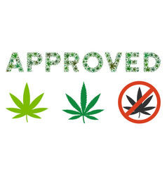 Approved text mosaic of cannabis vector