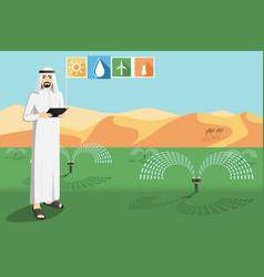 Arab farmer controls irrigation system vector