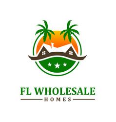 beach housing logo design vector image