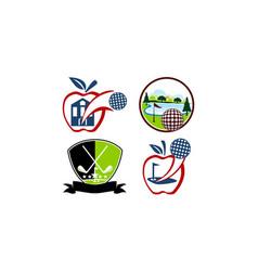 best course golf template set vector image