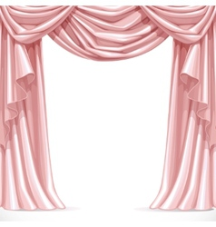 Big pink curtain draped with lambrequins isolated vector