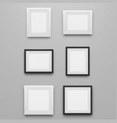 Black and white realistic picture frames set vector