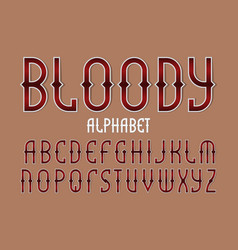 bloody red alphabet gaming stylized font vector image