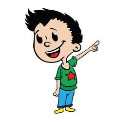 Boy pointing finger vector