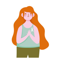 breast cancer awareness month young woman vector image