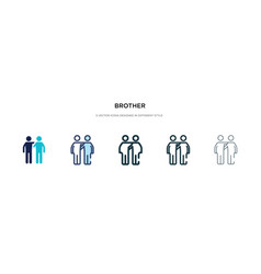 Brother icon in different style two colored and vector