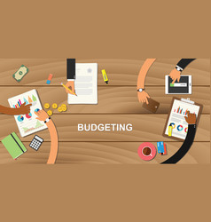 Budgeting business concept with team work vector