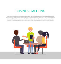 business meeting poster people sitting at table vector image