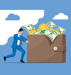 businessman pushing leather wallet full money vector image