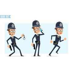 Cartoon british policeman boy character set vector