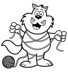 Cartoon cat tangled in yarn vector