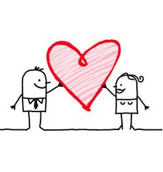 Cartoon couple with big heart vector