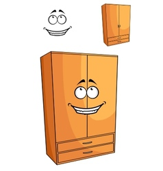 Cartoon wooden bedroom cupboard or wardrob vector image