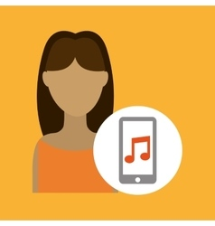 character woman smartphone music application vector image
