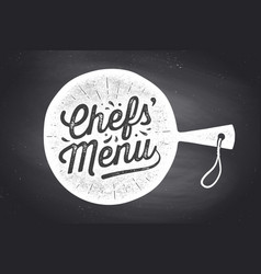 chefs menu lettering wall decor poster sign vector image