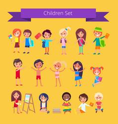 children set isolated on light orange vector image