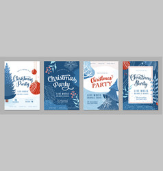 christmas party invitation poster background vector image