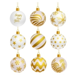 christmas tree balls icons vector image