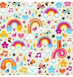 Clouds rainbows rain drops hearts pattern vector