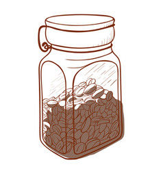 coffee glass jar icon bean beverage in a can vector image
