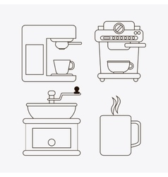 Coffee mug greinder machine shop beverage icon vector