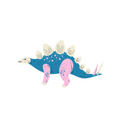 colorful stegosaurus dinosaur cute prehistoric vector image