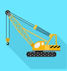 Construction excavator crane icon flat style vector