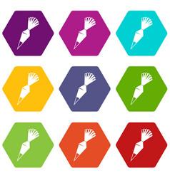 Cotton icing bag icon set color hexahedron vector